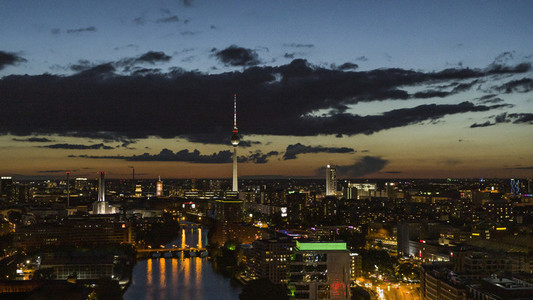 Berlin cityscape and Television Tower illuminated at night