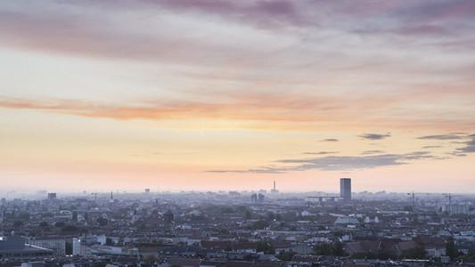 Scenic view Berlin cityscape under sunset sky