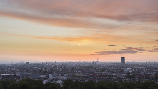 Sunset sky over Berlin cityscape