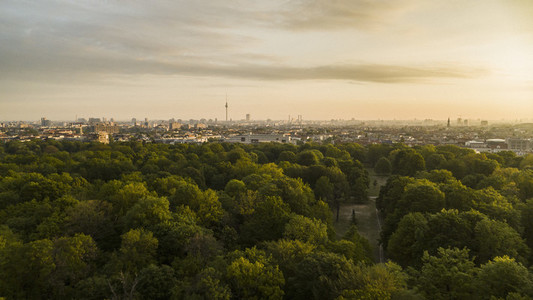 Scenic sunset view Volkspark Friedrichshain park and Berlin cityscape