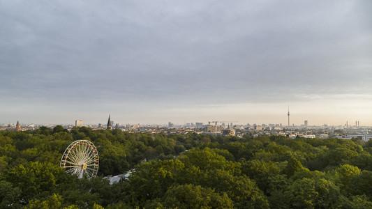 Scenic view Volkspark Friedrichshain park and Berlin cityscape