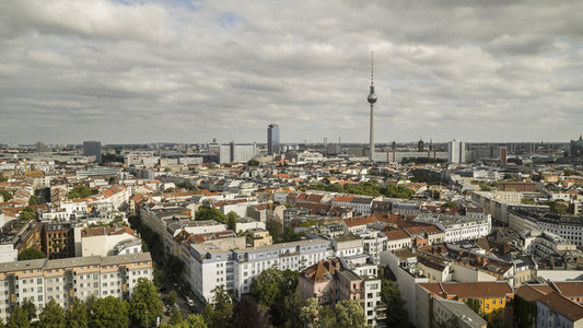Sunny scenic view Berlin cityscape and Television Tower