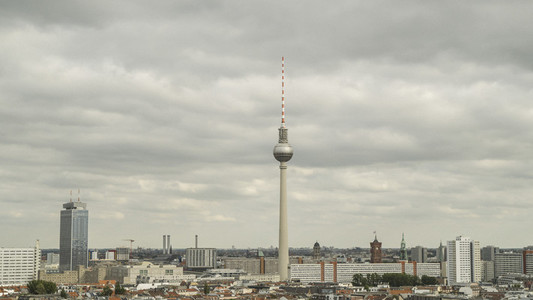 Berlin Television Tower under overcast sky