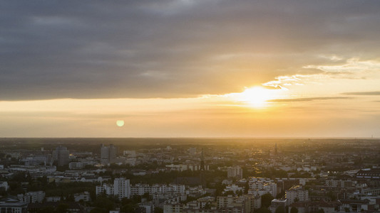 Tranquil sunset over Berlin cityscape