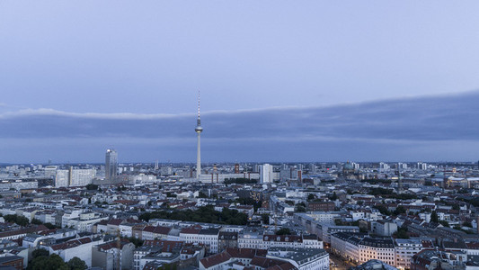Berlin Television Tower and cityscape at dusk