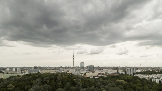Scenic view clouds Berlin cityscape and Television Tower