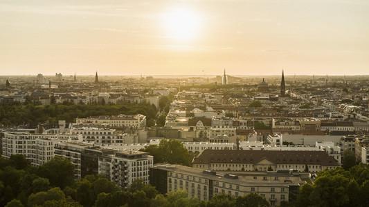 Golden sunset over Berlin cityscape