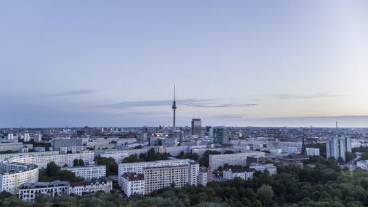 Berlin cityscape and Television Tower at dawn