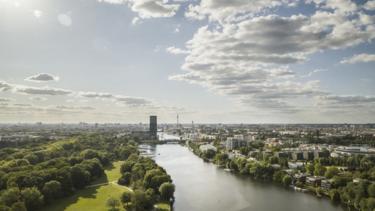 Sunny scenic Berlin cityscape and Spree River