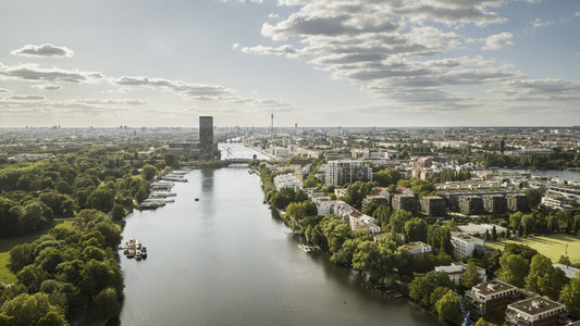 Sunny scenic view Berlin cityscape and Spree River