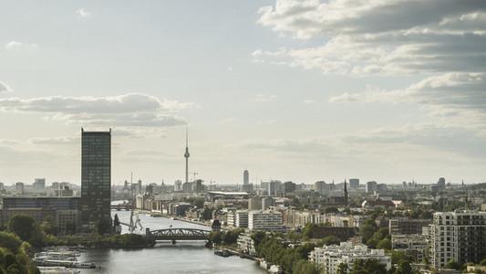 Sunny scenic view Berlin cityscape