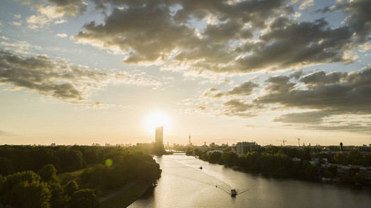 Sunset over Berlin and Spree River