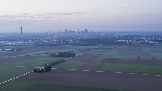 Rural farmland and Frankfurt in background