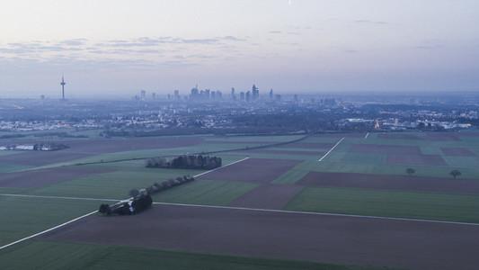 Rural farmland and Frankfurt in background