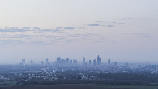 View of Frankfurt city in distance