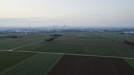 View of rural farmland and Frankfurt city
