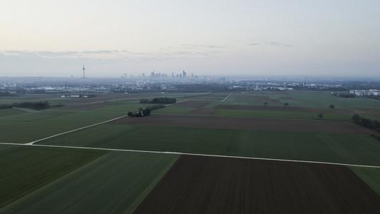 View of rural farmland and Frankfurt city