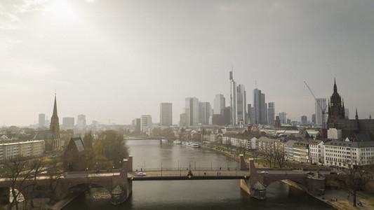Sunny Frankfurt cityscape and River Main