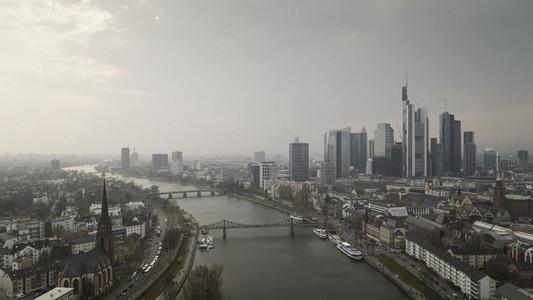 Frankfurt cityscape and River Main