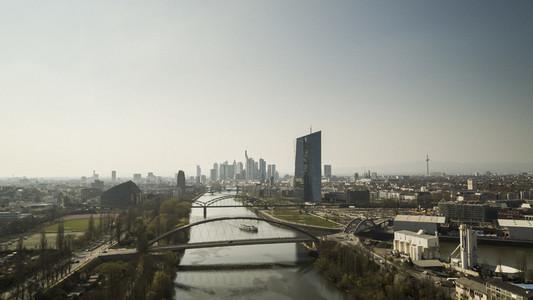 Sunny Frankfurt cityscape along River Main