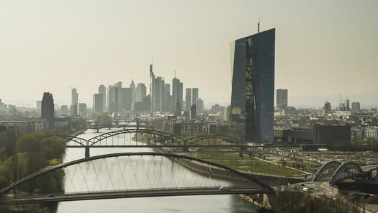 Sunny Frankfurt cityscape and bridges over River Main