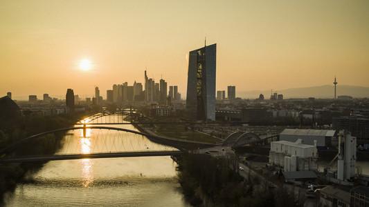 Sunset over Frankfurt cityscape