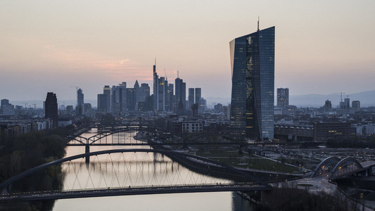 Frankfurt cityscape and River Main at dusk