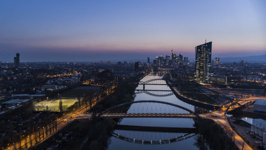 Frankfurt cityscape and River Main at night