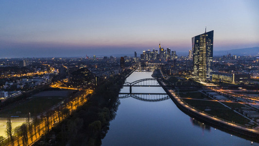 Frankfurt Osthafenbruecke bridge and cityscape at night