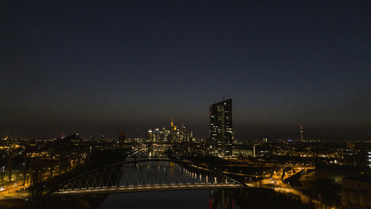 Frankfurt cityscape illuminated at night