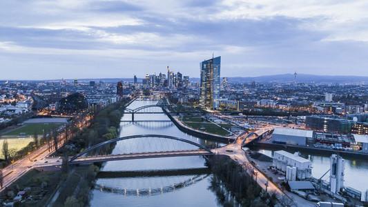 Frankfurt cityscape at dusk