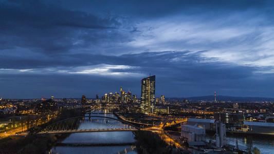 Frankfurt cityscape illuminated at night