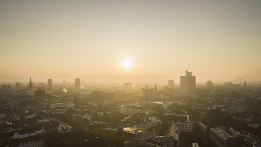 Sunset over Duesseldorf cityscape