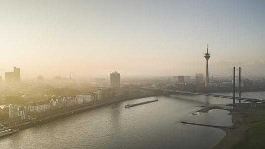 Sunset cityscape Duesseldorf