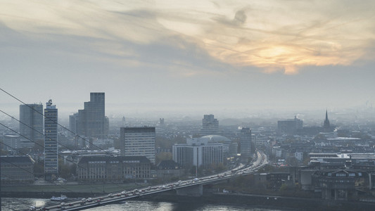 Duesseldorf cityscape at sunset