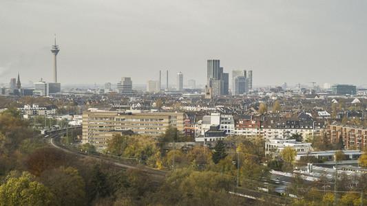 Sunny Duesseldorf cityscape