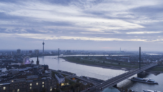 Duesseldorf cityscape and Rhine River