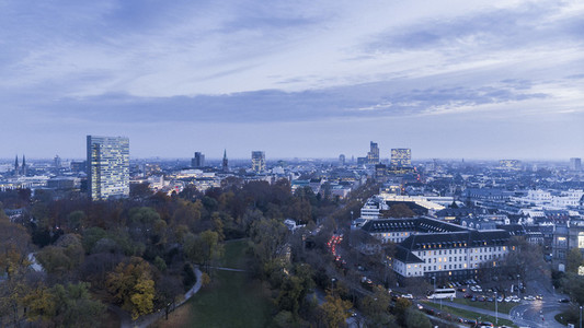 Duesseldorf cityscape and Sternwartpark