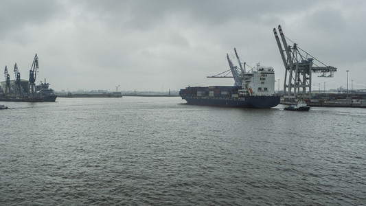 Container ship in Port of Hamburg