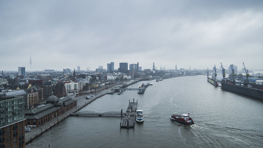Scenic view Elbe River and Hamburg cityscape