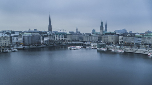 Hamburg cityscape and Elbe River