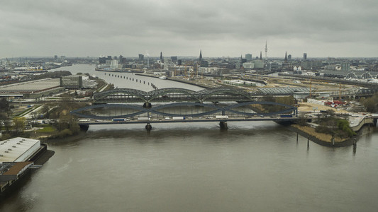 Hamburg cityscape and bridges over Elbe River