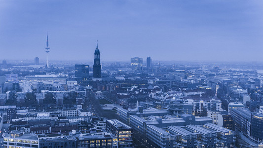 Scenic Hamburg cityscape at dusk