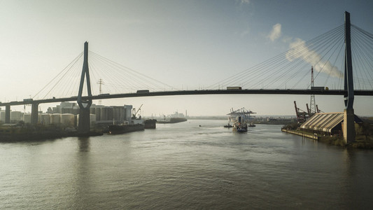 Bridge over Elbe River and Port of Hamburg
