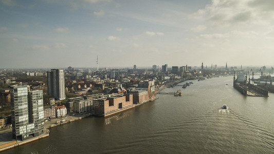 Scenic view sunny Hamburg cityscape and Elbe River