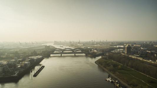 Sunny scenic Hamburg cityscape and Elbe River