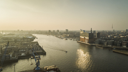 Sunny scenic view Elbe River and Philharmonic Hall