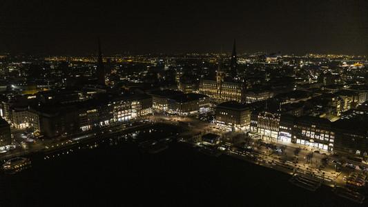 Hamburg cityscape illuminated at night
