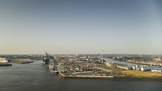 Sunny scenic view Port of Hamburg commercial docks