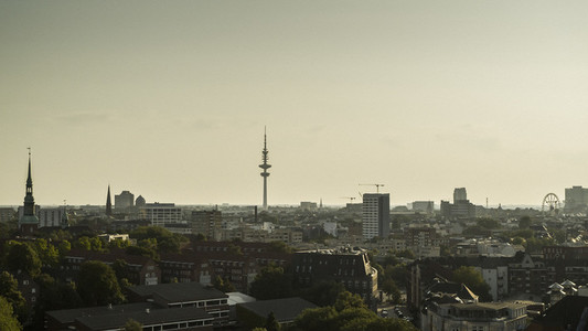 Heinrich Hertz Tower and Hamburg cityscape at sunset